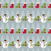 Winter Holidays Pattern Background With Fir, Branch Of Holly And Funny Cartoon Happy Snowman On Grey