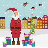 Winter Holiday Picture For Greeting Cards With Finch And Funny Cartoon Santa Coming To Town With Gif