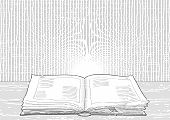 Old Book in engraving style
