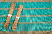 Soba On Bamboo Mat