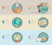 Flat design banners with set of flat concept icons for web design and business templates