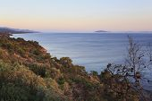 Beautiful scenery of the Aegean coast at sunset.