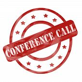 Red Weathered Conference Call Stamp Circles And Stars