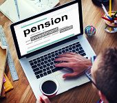 foto of retirement  - Pension Retirement Income compensation Office Business Concept - JPG