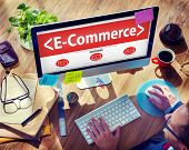 Digital Online Marketing E-Commerce Working Concept
