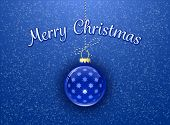 Merry Christmas. Christmas card. Christmas bauble on blue background with snowflakes