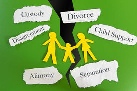 pic of divorce-papers  - Paper cutout family with divorce related messages - JPG