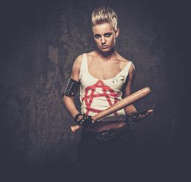 pic of anarchists  - Punk girl with a baseball bat - JPG