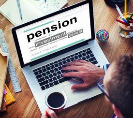 image of retirement  - Pension Retirement Income compensation Office Business Concept - JPG