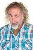 picture of long beard  - Happy Caucasian man with beard and long hair - JPG
