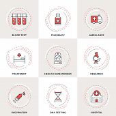 image of ambulance  - Modern Vector Medicine Line Icons Set - JPG
