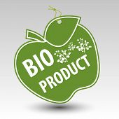 pic of eyeleteer  - green bio product apple tag label with string eyelet with silhouette of plant - JPG