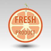 image of eyeleteer  - circle fresh fruit product orange tag label with string eyelet - JPG
