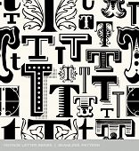 image of letter t  - Seamless vintage pattern of the letter T  - JPG