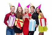 foto of birthday hat  - Photo of happy young people standing isolated on white background - JPG