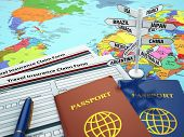 Travel insurance application form, passport and sign of destination on the map. DOF effect. 3d poster
