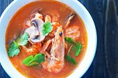 foto of gai  - tom yam soup in the white bowl - JPG