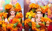 pic of lakshmi  - goddess lakshmi and lord ganesha at the time of prayer - JPG