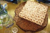 picture of passover  - Jewish Holidays  Traditional Matzot Laid Out on Passover Seder Table - JPG