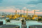 stock photo of greenpeace  - Oil refinery at dramatic twilight in Thailand - JPG