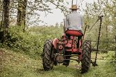 pic of farmer  - Young Farmer Driving a Red Old Vintage Tractor - JPG