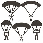 picture of parachute  - Extreme sports icon set  - JPG