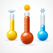 picture of cold-weather  - Vector illustration thermometr icon set - JPG