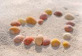 pic of shells  - heart drawn with small shells in the sand - JPG
