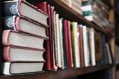 picture of book-shelf  - Many books on bookshelf in library - JPG