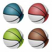 stock photo of combine  - Combinated color basketballs - JPG