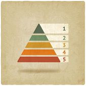foto of pyramid shape  - Maslow colored pyramid symbol old background  - JPG