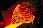 image of manufacturing  - manufacturing wire Steel Works orange fire brown - JPG