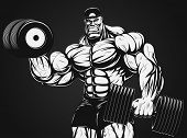 image of muscle builder  - Vector illustration - JPG