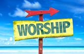 foto of worship  - Worship sign with beach background - JPG
