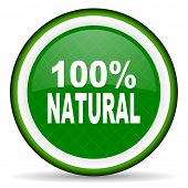stock photo of 100 percent  - natural green icon 100 percent natural sign  - JPG