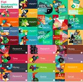 foto of universal sign  - Mega collection of vector flat web infographic concepts and banners - JPG