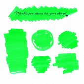 picture of neon green  - Neon green marker pen spots and lines isolated on a white background for your design - JPG