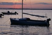 Sunset on the Bay with Boat