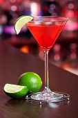 picture of cosmopolitan  - Cosmopolitan cocktail shot on a bar counter - JPG