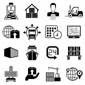 pic of shipping receiving  - set of 16 shipping and supply chain icons - JPG