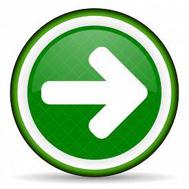 stock photo of arrow  - right arrow green icon arrow sign  - JPG