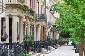 stock photo of brownstone  - New York City United States  - JPG