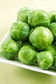 foto of brussels sprouts  - fresh organic brussels sprouts on a white plate - JPG