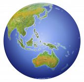 Earth Showing Australia, New Zealand, Asia And The South Pole