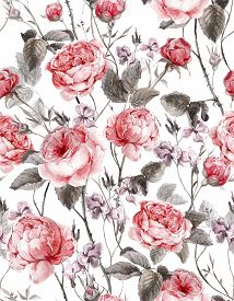 stock photo of english rose  - Classical vintage floral seamless pattern - JPG