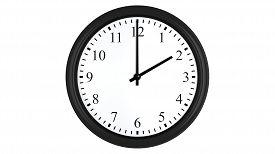 pic of analog clock  - Realistic 3D render of a wall clock set at 2 o - JPG