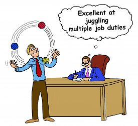 stock photo of juggling  - Business cartoon showing businessman juggling three balls and businessman in background is thinking - JPG