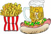 foto of bag-of-dog-food  - A nice glass of beer with hot dogs and french fries - JPG
