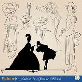 elegant vintage fashion illustrations