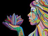 image of east-indian  - woman face with multicolored indian pattern holding lotus flower side view digital painting - JPG